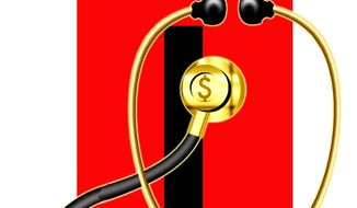 Illustration on surprise medical charges by Alexander Hunter/The Washington Times