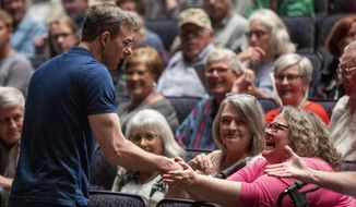 In this May 28, 2019, file photo, Rep. Justin Amash, D-Mich., greets the crowd before holding a town hall meeting at Grand Rapids Christian High School's DeVos Center for Arts and Worship. (Cory Morse/The Grand Rapids Press via AP) ** FILE **