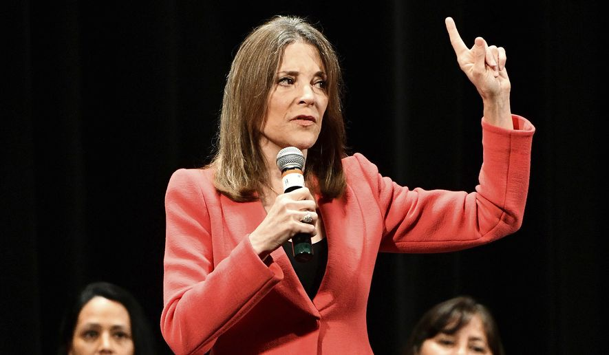 Marianne Williamson, 2020 Democratic presidential hopeful, speaks during the first day of the Frank LaMere Native American Presidential Forum held Monday, Aug. 19, 2019, at the Orpheum Theatre in Sioux City, Iowa. Nine presidential candidates were scheduled to address issues of importance to Native American voters during the two-day forum. (Tim Hynds/Sioux City Journal via AP)