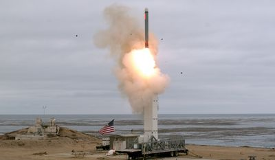The Defense Department conducted a flight test of a conventionally configured ground-launched cruise missile at San Nicolas Island, Calif. The test missile exited its ground mobile launcher and accurately impacted its target after more than 500 kilometers of flight. U.S. Defense Department photo.