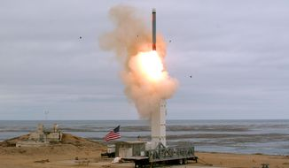 This Sunday, Aug. 18, 2019 photoprovided by the U.S. Defense Department shows the launch of a conventionally configured ground-launched cruise missile on San Nicolas Island off the coast of California. The Pentagon said Monday the U.S. military has conducted a flight test of a type of missile banned for more than 30 years by a treaty that both the United States and Russia abandoned this month. The test off the coast of California on Sunday marks the resumption of an arms competition that some analysts worry could increase U.S.-Russian tensions. (Scott Howe/U.S. Defense Department via AP)