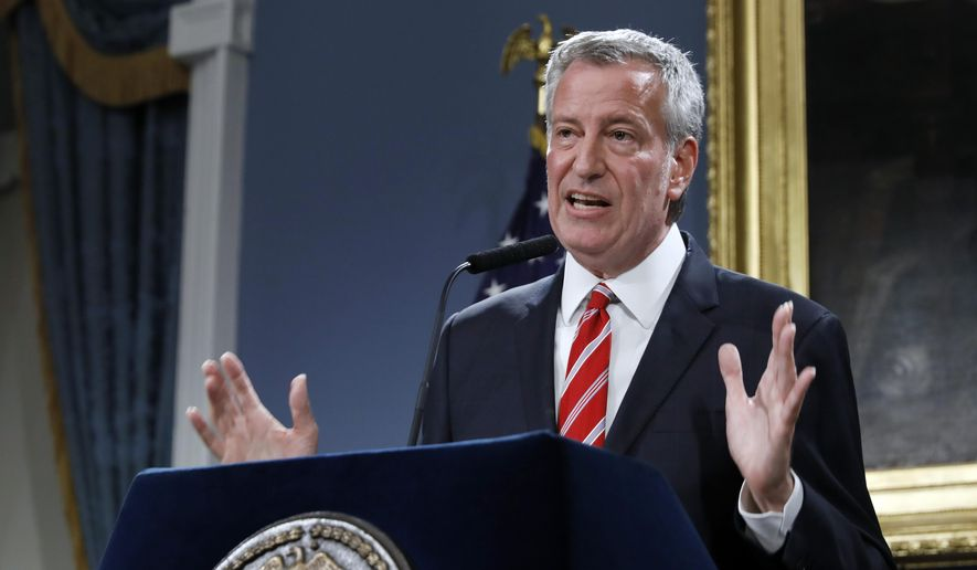 New York Mayor Bill de Blasio speaks at City Hall, Monday, Aug. 19, 2019. (AP Photo/Richard Drew) ** FILE **