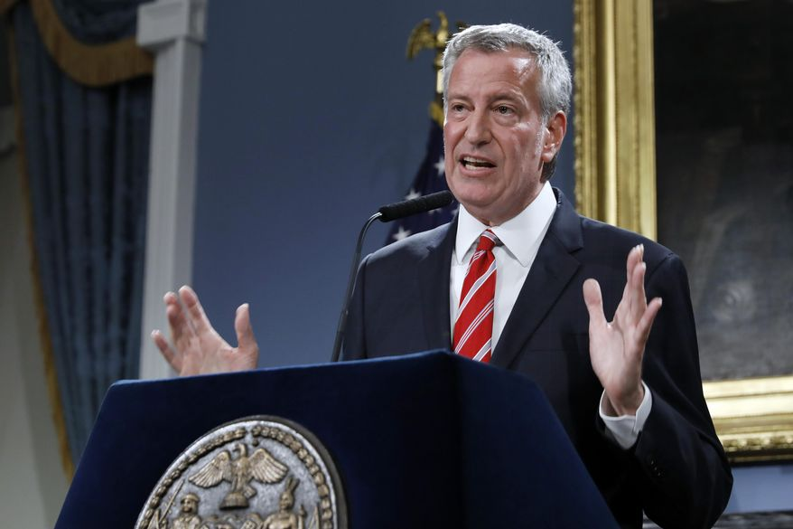 New York Mayor Bill de Blasio speaks at City Hall, Monday, Aug. 19, 2019. (AP Photo/Richard Drew) ** FILE **