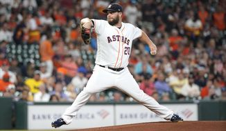 Houston Astros starting pitcher Wade Miley throws against the Detroit Tigers during the first inning of a baseball game Monday, Aug. 19, 2019, in Houston. (AP Photo/David J. Phillip)
