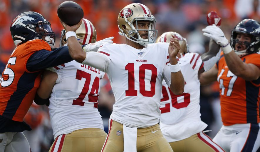 San Francisco 49ers quarterback Jimmy Garoppolo (10) throws against the Denver Broncos during an NFL preseason football game, Monday, Aug. 19, 2019, in Denver. (AP Photo/David Zalubowski)