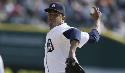 Detroit Tigers relief pitcher Octavio Dotel throws during the eighth inning of a baseball game against the New York Yankees in Detroit, Sunday, April 7, 2013. (AP Photo/Carlos Osorio) **FILE**