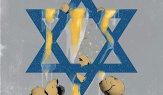 Illustration on anti-semitic attacks on Israel by Linas Garsys/The Washington Times