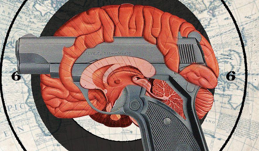 Illustration on gun control and mental illness by Linas Garsys/The Washington Times