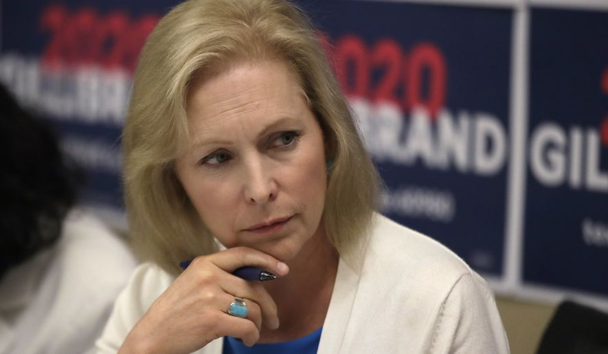 In this file photo, Democratic presidential candidate Sen. Kirsten Gillibrand, D-N.Y., listens during a mental health roundtable discussion, Tuesday, Aug. 20, 2019, in Manchester, N.H. (AP Photo/Elise Amendola)  **FILE**