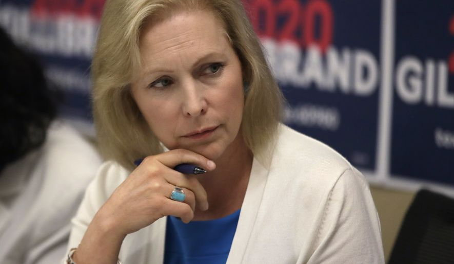 Democratic presidential candidate Sen. Kirsten Gillibrand, D-N.Y., listens during a mental health roundtable discussion, Tuesday, Aug. 20, 2019, in Manchester, N.H. (AP Photo/Elise Amendola)