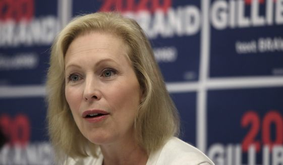 Democratic presidential candidate Sen. Kirsten Gillibrand, D-N.Y., participates in a mental health roundtable discussion, Tuesday, Aug. 20, 2019, in Manchester, N.H. (AP Photo/Elise Amendola)