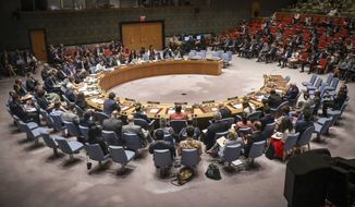 United Nations Security Council meeting on the Mideast attended by United States Secretary of State Michael Pompeo, Tuesday Aug. 20, 2019 at U.N. headquarters. (AP Photo/Bebeto Matthews)