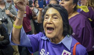 Labor leader Dolores Huerta joins protesters in crowding the hallway outside the Fresno County Board of Supervisors chambers to argue for better pay for county caregivers, Tuesday, Aug. 20, 2019, in Fresno, Calif. Huerta has been arrested along with several other union members during a protest to demand a raise for Fresno county home care workers. The Fresno Bee reports sheriff deputies put Huerta and the others in plastic handcuffs and removed them Tuesday from the entrance to the Board of Supervisors chambers, where supervisors were holding a closed meeting. (Craig Kohlruss/The Fresno Bee via AP)