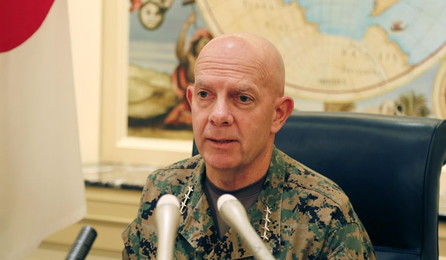 Gen. David Berger, the new U.S. Marines commandant, speaks during a press conference in Tokyo, Wednesday, Aug. 21, 2019. (AP Photo/Yuri Kageyama)  ** FILE **