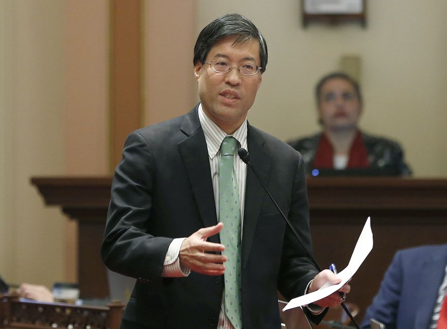 In this May 22, 2019, file photo, State Sen. Richard Pan, D-Sacramento, calls on lawmakers to approve his measure to toughen the rules for vaccination exemptions in Sacramento, Calif. An anti-vaccine activist has been cited for assault after pushing Pan on a sidewalk near the Capitol. Kenneth Austin Bennett livestreamed the confrontation on his Facebook page. It shows him shoving Pan in the back after questioning him on vaccinations. The Sacramento Police Department say they cited Bennett on a misdemeanor assault charge then released him. (AP Photo/Rich Pedroncelli, File)