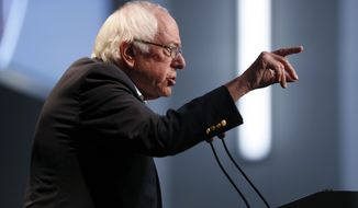 Democratic presidential candidate Sen. Bernie Sanders, I-Vt., speaks at the Iowa Federation of Labor convention, Wednesday, Aug. 21, 2019, in Altoona, Iowa. (AP Photo/Charlie Neibergall)