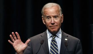 Democratic presidential candidate former Vice President Joe Biden speaks at the Iowa Federation of Labor convention, Wednesday, Aug. 21, 2019, in Altoona, Iowa. (AP Photo/Charlie Neibergall)