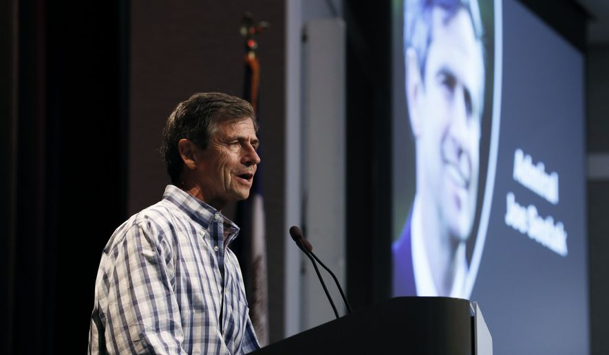 "Democratic presidential candidate Joe Sestak, a former two-term House lawmaker from Pennsylvania, is campaigning on accountability and promoting himself as the candidate who is ""above self, above party, above any special interest."" (Associated Press/File)"