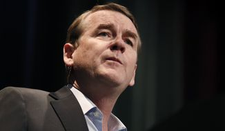 Democratic presidential candidate Sen. Michael Bennet, D-Colo., speaks at the Iowa Federation of Labor convention, Wednesday, Aug. 21, 2019, in Altoona, Iowa. (AP Photo/Charlie Neibergall)
