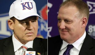 FILE - This combination of file photos shows new Kansas football coach Les Miles, left, at an NCAA college football news conference in Lawrence, Kan., Nov. 18, 2018, and  Chris Klieman introduced as the 35th Kansas State head football coach in Manhattan, Kan., Dec. 12, 2018. The two schools took vastly different approaches to hiring new head coaches. (AP Photo/Orlin Wagner, File)