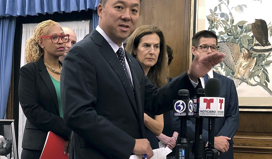 Connecticut Attorney General William Tong speaks in his office, Wednesday, Aug. 21, 2019, in Hartford, Conn., about the potential impact on thousands of state residents by planned rule changes for public benefits for immigrants. (AP Photo/Susan Haigh)