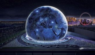 FILE - This conceptual rendering released by Madison Square Garden shows the exterior of the MSG Sphere Las Vegas arena.  Company and project officials are estimating costs to complete a spherical entertainment venue under construction on the Las Vegas Strip at between $1.2 billion and $1.7 billion. Madison Square Garden Co. President Andrew Lustgarten disclosed cost projections Tuesday, Aug. 20, 2019 along with quarterly company earnings. The 18,000-seat arena, called MSG Sphere, is a partnership between MSG and Las Vegas Sands, the owner of the adjacent Venetian and Palazzo resorts (Madison Square Garden via AP)
