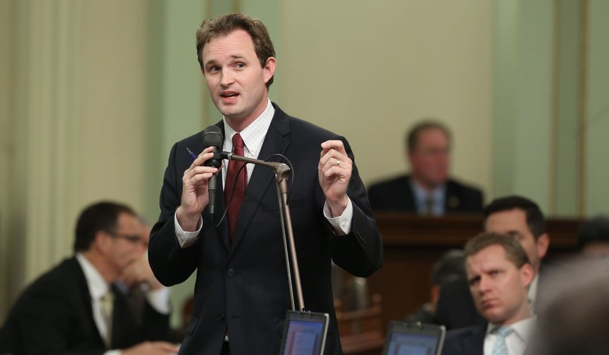 Assemblyman James Gallagher, R-Nicolaus, called for lawmakers to hold off in passing AB92, one of two  drought-relief measures before the legislature at the Capitol in Sacramento, Calif., Thursday March 26, 2015. The Assembly approved AB92 on a 50-27. The Assembly passed the other drought bill, AB91, on a 74-0 vote and sent both bills to Gov. Jerry Brown, who is expected to sign the legislation. (AP Photo/Rich Pedroncelli)