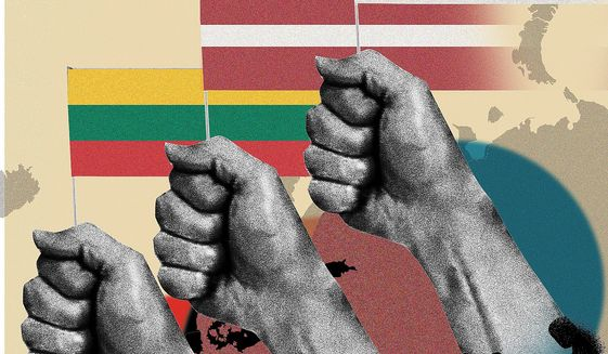 Illustration on the liberation of the Baltic nations by Linas Garsys/The Washington Times