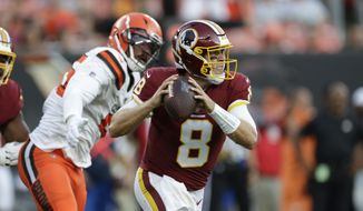 Washington Redskins quarterback Case Keenum (8) plays against the Cleveland Browns during the first half of an NFL preseason football game, Thursday, Aug. 8, 2019, in Cleveland. (AP Photo/Ron Schwane) **FILE**