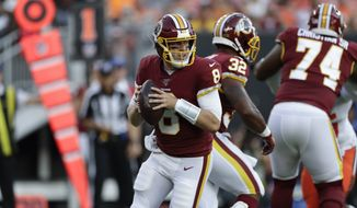 Washington Redskins quarterback Case Keenum (8) plays against the Cleveland Browns during the first half of an NFL preseason football game, Thursday, Aug. 8, 2019, in Cleveland. (AP Photo/Ron Schwane)