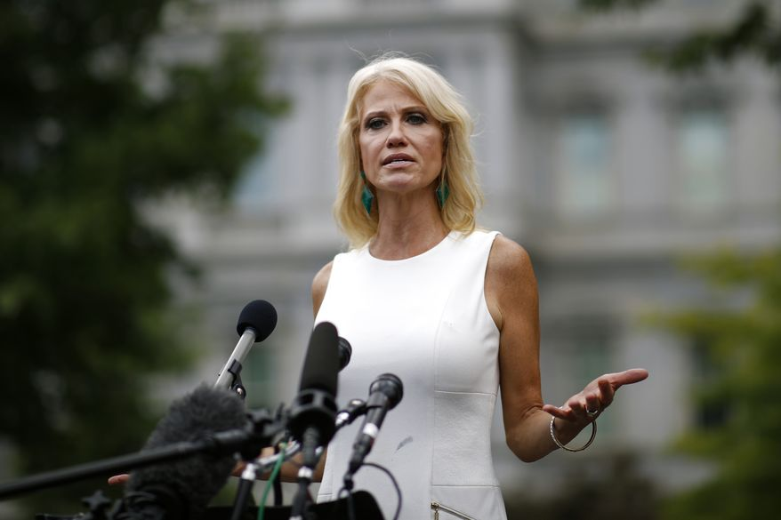 Counselor to the President Kellyanne Conway speaks with reporters outside the White House, Wednesday, Aug. 21, 2019, in Washington. (AP Photo/Patrick Semansky) ** FILE **