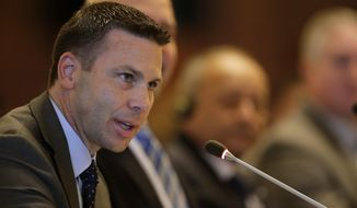 Acting U.S. Homeland Security Secretary Kevin McAleenan speaks during a meeting with Central American and Colombian security ministers, in Panama City, Thursday, Aug. 22, 2019. McAleenan is in Panama to discuss drug trafficking and migrant smuggling, though he says he isn't seeking any specific agreement during the visit. (AP Photo/Arnulfo Franco)