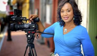 This August 2019 photo provided by WVUE shows WVUE reporter Nancy Parker. Parker died Friday, Aug. 16, 2019 when a small plane flown by pilot Franklin Augustus crashed shortly after takeoff from Lakefront Airport. A memorial is set for Friday morning, Aug.  23 at Xavier University for Parker, an Alabama native who anchored at WAFB in Baton Rouge before moving to WVUE 23 years ago.  (Jim Pennison/WVUE via AP)