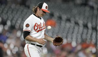 Baltimore Orioles starting pitcher Asher Wojciechowski tosses a ball in reaction after allowing a solo home run to Tampa Bay Rays' Austin Meadows during the third inning of a baseball game Thursday, Aug. 22, 2019, in Baltimore. (AP Photo/Julio Cortez)