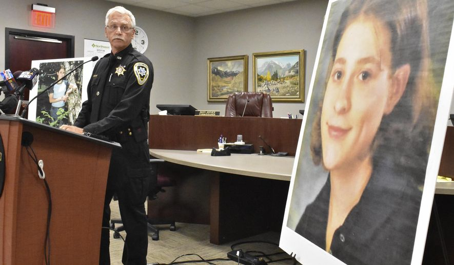 FILE - In this July 23, 2019, file photo, Yellowstone County Sheriff Mike Linder announces that 39-year-old Zachary David O'Neill has pleaded guilty to the brutal 1998 killing of 18-year-old Miranda Fenner, during a news conference in Billings, Mont. The case garnered national attention at the time of the killing but frustrated law enforcement when it remained unsolved. (AP Photo/Matthew Brown, File)