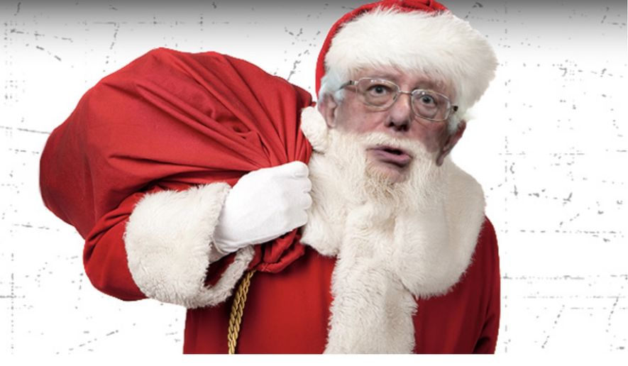 Vermont Sen. Bernie Sanders appears as Santa Claus on radio host Rush Limbaugh's website. The conservative host told viewers on Aug. 23, 2019, that 2020 presidential hopefuls in the Democratic Party count on people seeing them as a Christmas gift-giver. (Image: RushLimbaugh.com Sen. Sanders parody screenshot)  ** FILE **