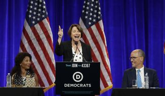 Democratic presidential candidate Sen. Amy Klobuchar, D-Minn., gestures while speaking at the Democratic National Committee's summer meeting Friday, Aug. 23, 2019, in San Francisco. (AP Photo/Ben Margot)