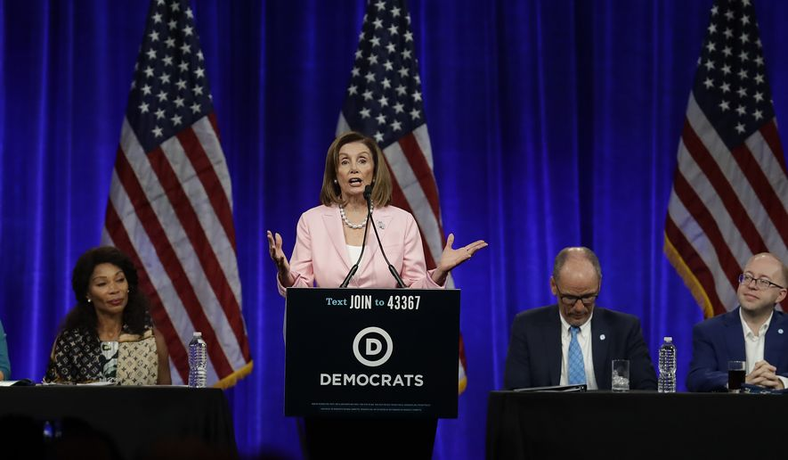 U.S. House Speaker Nancy Pelosi gestures while speaking at the Democratic National Committee's summer meeting Friday, Aug. 23, 2019, in San Francisco. More than a dozen Democratic presidential hopefuls are making their way to California to curry favor with national party activists from around country. Democratic National Committee members will hear Friday from top contenders, including Elizabeth Warren, Kamala Harris and Bernie Sanders. (AP Photo/Ben Margot)