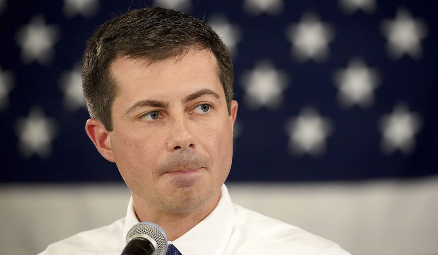 Democratic presidential candidate South Bend Mayor Pete Buttigieg pauses before speaking at a Veteran's and Mental Health Town Hall event at an American Legion Hall, Friday, Aug. 23, 2019, in Manchester, N.H. (AP Photo/Mary Schwalm)