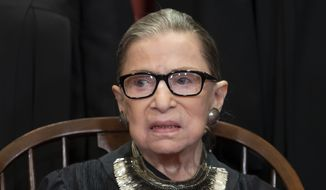 In this Nov. 30, 2018 file photo, Associate Justice Ruth Bader Ginsburg sits with fellow Supreme Court justices for a group portrait at the Supreme Court Building in Washington. The Supreme Court announced Aug. 23, 2019, that Ginsburg has been treated for a malignant tumor. (AP Photo/J. Scott Applewhite, File) **FILE**