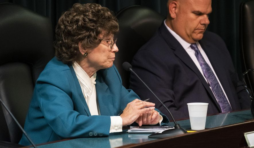 """Jean Cramer, a candidate for the Marysville City Council, gives her opening remarks during a candidate forum Thursday, Aug. 22, 2019, at Marysville, Mich., City Hall. Cramer shocked the public forum when she said she wants to keep her community white """"as much as possible.""""  Cramer made the comment Thursday in response to a question about diversity in Marysville, a city in St. Clair County, 55 miles (88 kilometers) northeast of Detroit.  (Brian Wells/The Times Herald via AP)"""