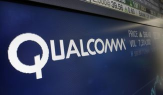 FILE - This Wednesday, Feb. 14, 2018 file photo shows the logo for Qualcomm on a screen at the Nasdaq MarketSite, in New York. A federal appeals court is temporarily protecting Qualcomm from an antitrust ruling that would have forced the mobile chipmaker to drastically change how it licenses key technology for connecting smartphones to the internet. Friday, Aug. 23, 2019 stay granted by the 9th U.S. Circuit Court of Appeals will prevent the Federal Trade Commission from enforcing key provisions of a lower court ruling that said Qualcomm abused its patents to stifle competition.  (AP Photo/Richard Drew, File)
