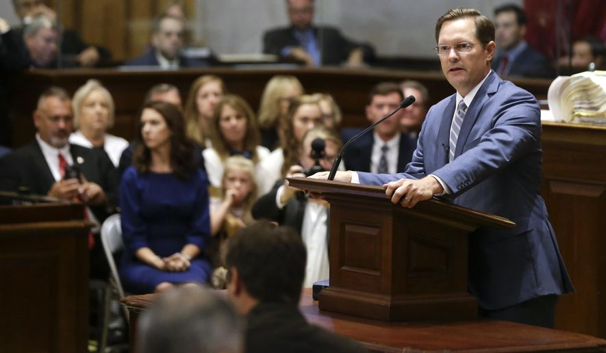 Rep. Cameron Sexton, R-Crossville, addresses the House members after being sworn in as House Speaker during a special session of the Tennessee House Friday, Aug. 23, 2019, in Nashville, Tenn. (AP Photo/Mark Humphrey)