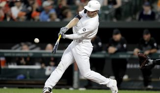 Tampa Bay Rays' Austin Meadows hits a grand slam off Baltimore Orioles starting pitcher Ty Blach during the second inning of a baseball game, Friday, Aug. 23, 2019, in Baltimore. Rays' Mike Zunino, Matt Duffy and Tommy Pham also scored on the grand slam. (AP Photo/Julio Cortez)
