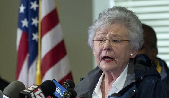 In this March 4, 2019 file photo Alabama Gov. Kay Ivey speaks at a news conference in Beauregard, Ala. (AP Photo/Vasha Hunt, File) **FILE**