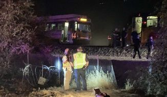 In this image made from video, a Sacramento Regional Transit light-rail car is seen stopped in Sacramento, Calif., on Thursday, Aug. 22, 2019.  Authorities say more than two dozen people have been injured in a light rail train derailment in Northern California. (Daniel Hunt/The Sacramento Bee via AP)