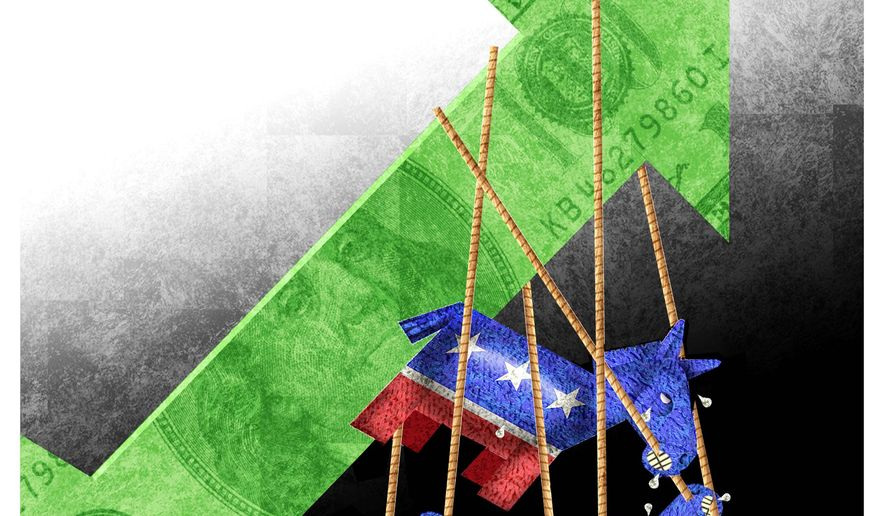 Illustration on Democrat opposition to economic growth by Alexander Hunter/The Washington Times