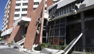 This photo taken July 11, 2019 shows damage caused by a natural gas explosion at Argenta Hall on the campus of the University of Nevada, Reno. That dormitory and the neighboring Nye Hall we be closed all school year so roughly 1,300 students are living in a Circus Circus casino hotel tower downtown about a half-mile away. (AP Photo/Scott Sonner)