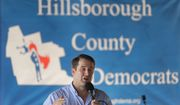 Democratic presidential candidate Rep. Seth Moulton, D-Mass., addresses an audience, Sunday, Aug. 18, 2019, at the Hillsborough County Democrats Summer Picnic, in Greenfield, N.H. (AP Photo/Steven Senne)