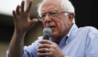 FILE - In this Aug. 11, 2019, file photo, Democratic presidential candidate Sen. Bernie Sanders, I-Vt., speaks at the Iowa State Fair in Des Moines, Iowa. Sanders is taking his presidential campaign to the backyard of Senate Majority Leader Mitch McConnell with a rally in Louisville. (AP Photo/John Locher, File)